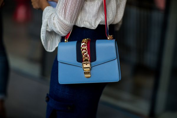 STYLE TIP: The bright hue of this bag stands out against a neutrally-coloured outfit.