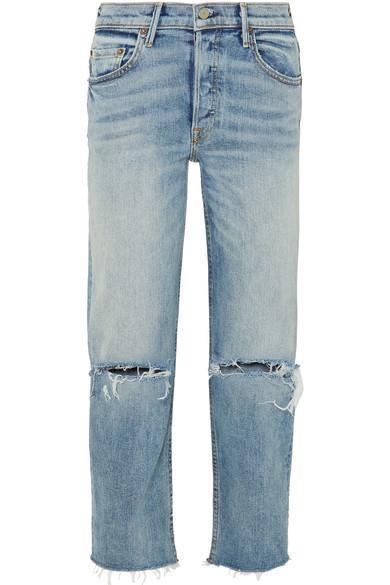 Helena Distressed High-Rise Straight-Leg Jeans