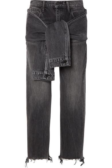 Tie-front Frayed High-rise Straight-leg Jeans