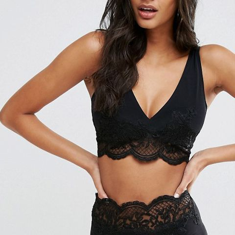 Premium Lace Appliqué Crop Bikini Top