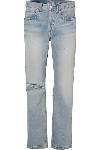 Grunge Distressed High-rise Straight-leg Jeans