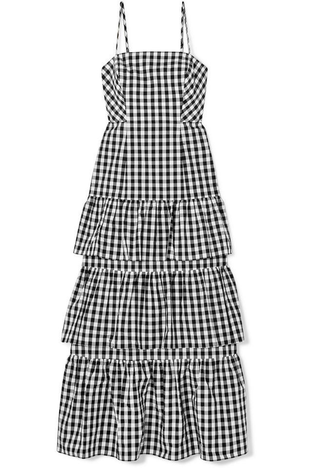 Dabble Tiered Gingham Cotton-poplin Midi Dress