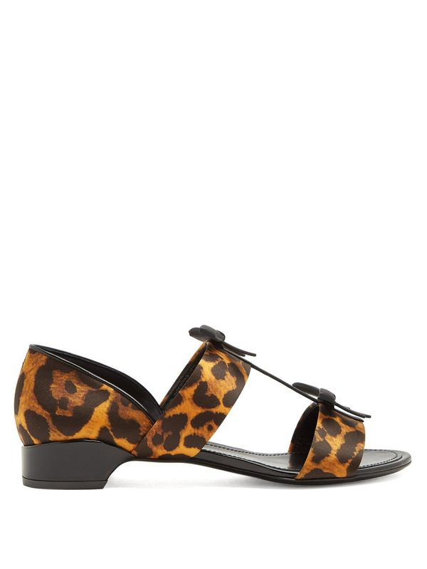 Take A Bow leopard-print satin sandals