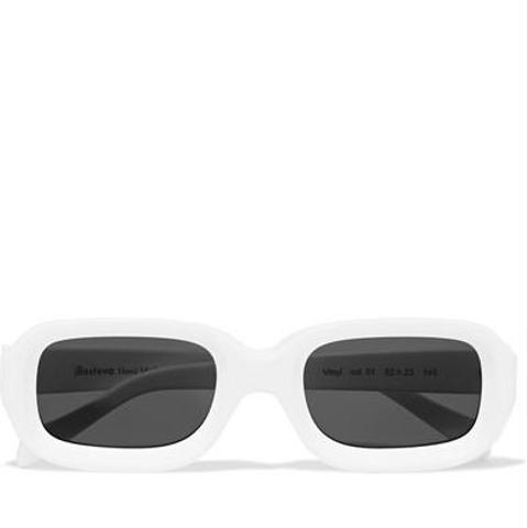 Vinyl Square-Frame Matte-Acetate Sunglasses