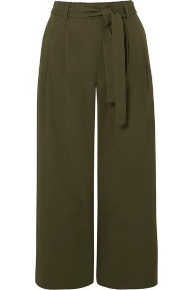 Stretch-cotton Poplin Cropped Pants