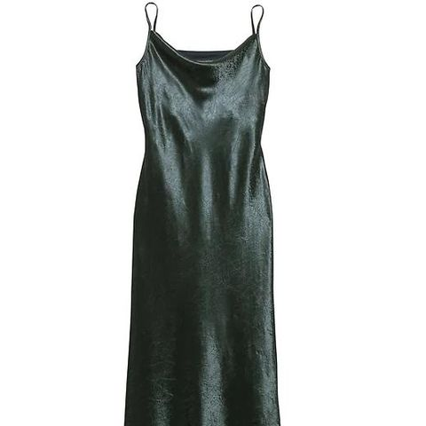 Textured Satin Bias-Cut Maxi Slip Dress Orca
