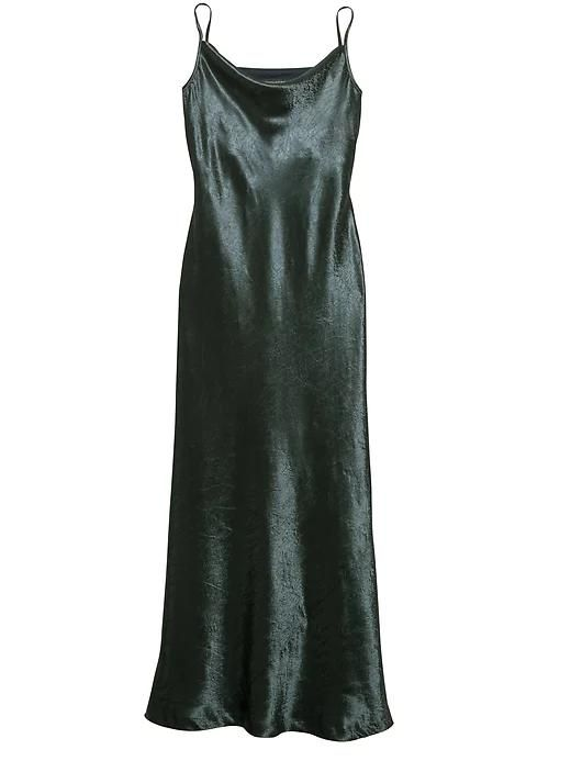 Womens Textured Satin Bias-Cut Maxi Slip Dress Orca