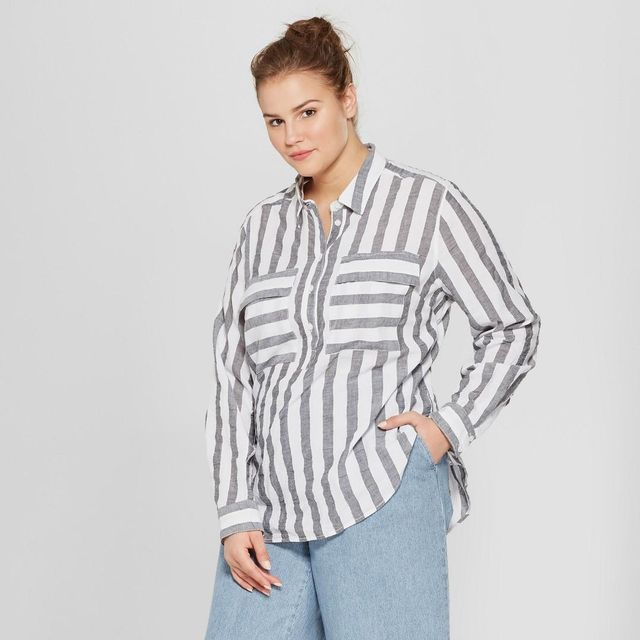 Plus Size Striped Long Sleeve Henley Top