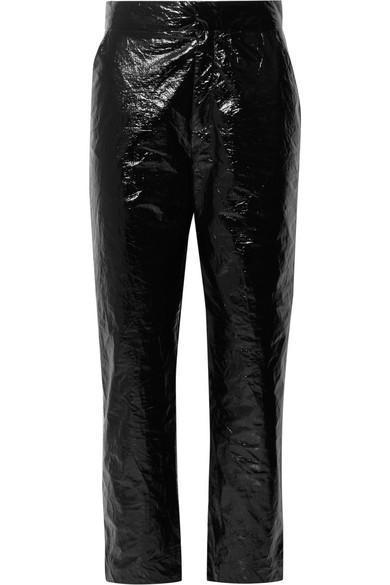 Naughty Crinkled-vinyl Straight-leg Pants