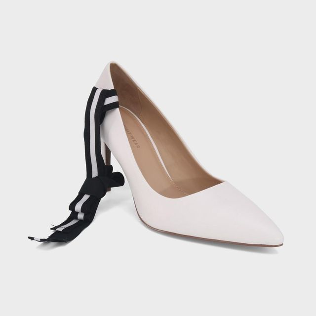 Ally Smooth Faux Leather Dual Lace Pumps