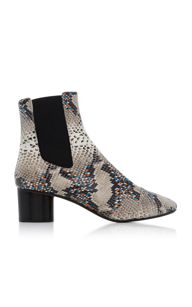 Danelya Snakeskin-Embossed Chelsea Boots