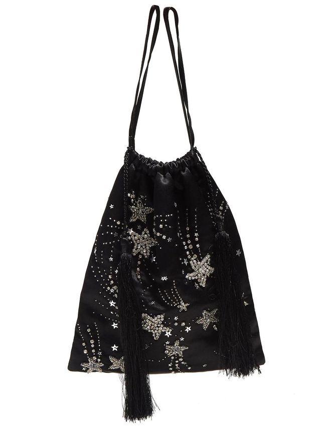 Star-embellished tassel-trimmed pouch