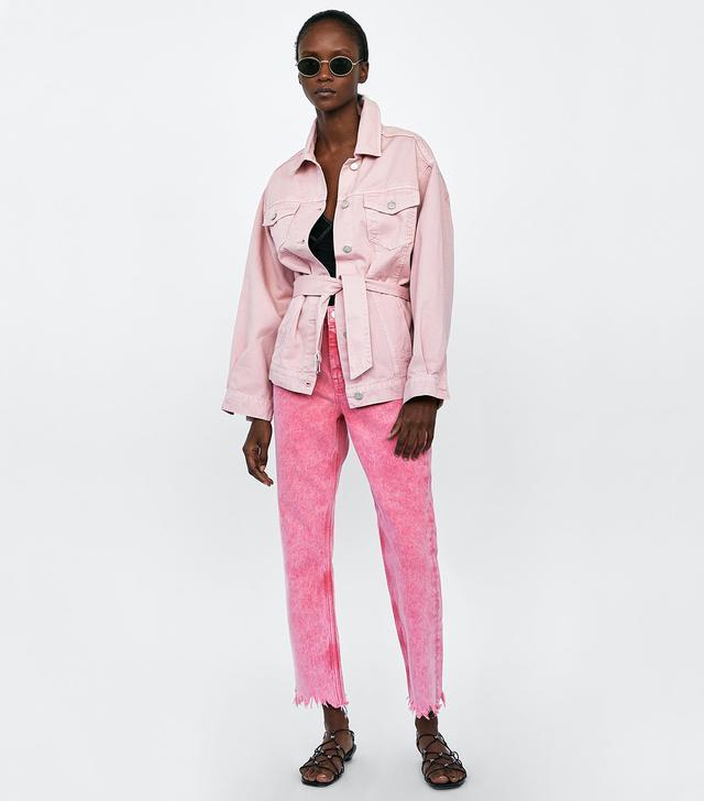 Zara Denim Jacket With Belt
