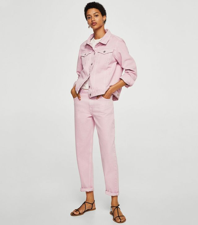 Mango Pocketed Pink Denim Jacket