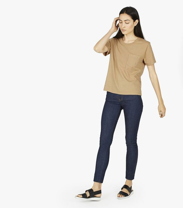 Women's Cotton Box-Cut Pocket T-Shirt by Everlane in Camel, Size L