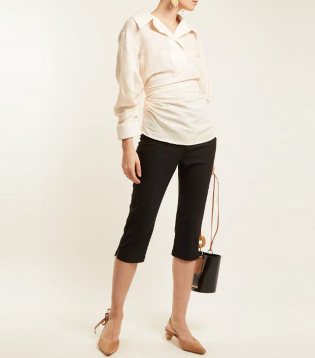 Gathered linen and cotton-blend shirt