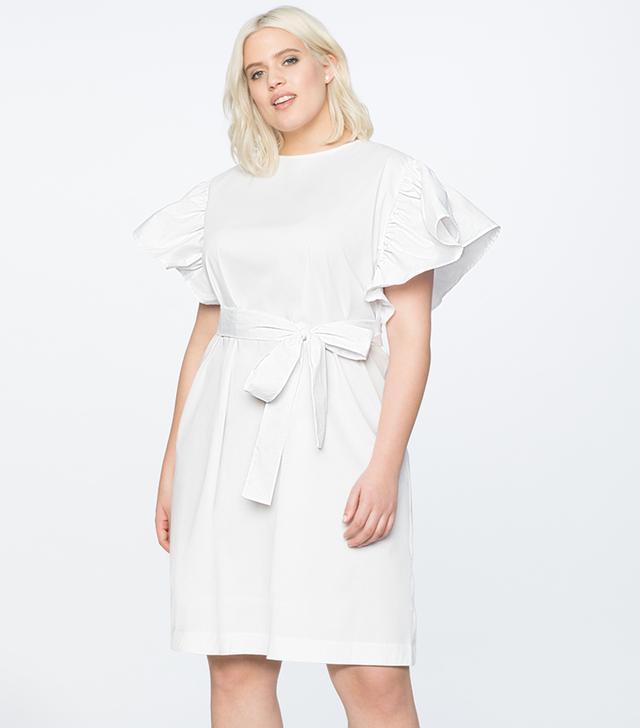 Eloquii Flutter Sleeve Belted Dress