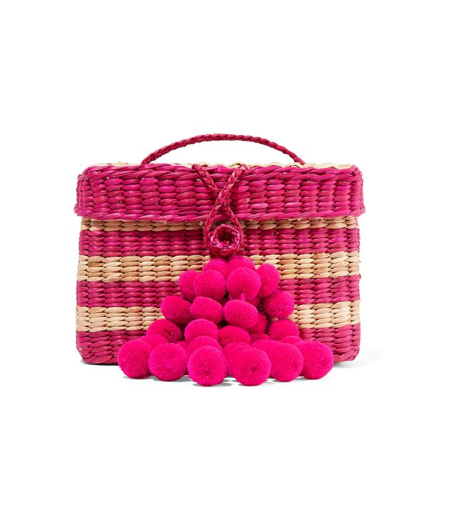 Nannacay Baby Roge Pompom-Embellished Striped Woven Raffia Tote