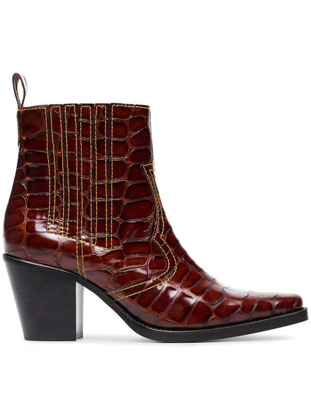 Ganni Brown Rosette Patent Leather Cowboy Boots