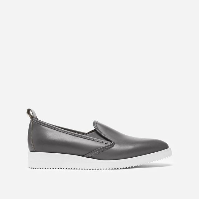 Women's Leather Slip-on Shoes by Everlane in Black Perforated, Size 9