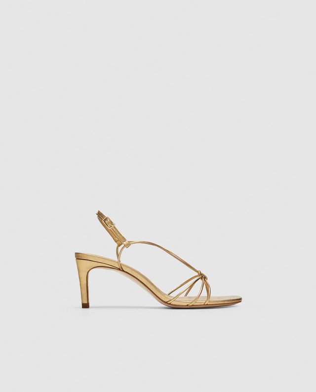 Zara Gold Leather High Heels