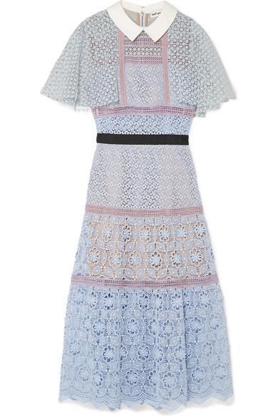 Cape-effect Guipure Lace Midi Dress