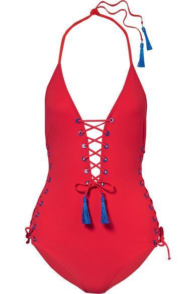 Carlotta Tasseled Lace-Up Swimsuit