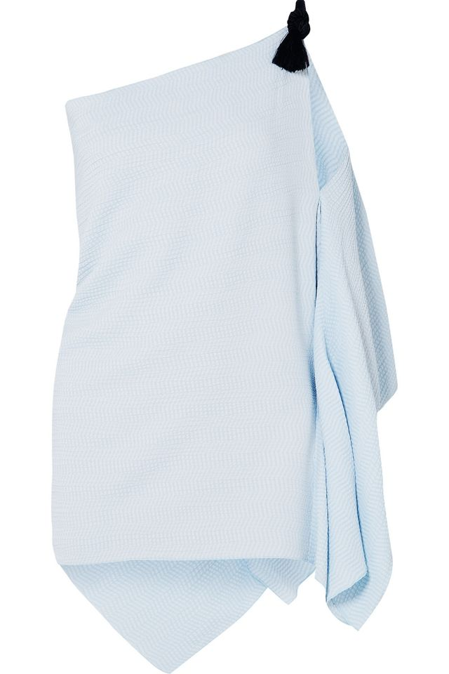 Roland Mouret Chilton Embellished One-Shoulder Embroidered Cloqué Top