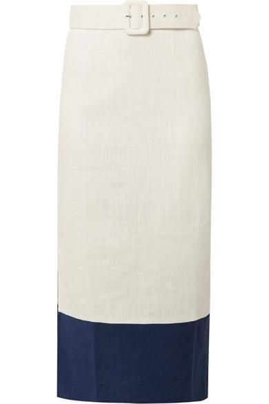 Brackett Two-Tone Belted Linen-Blend Midi Skirt