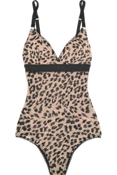 Florence Fluttering Leopard-print Stretch-mesh Bodysuit