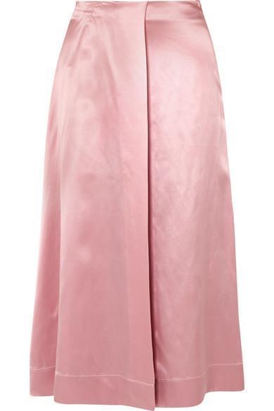Harper Wrap-effect Silk-satin Midi Skirt