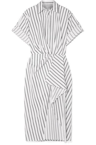 Striped Cotton-poplin Midi Dress