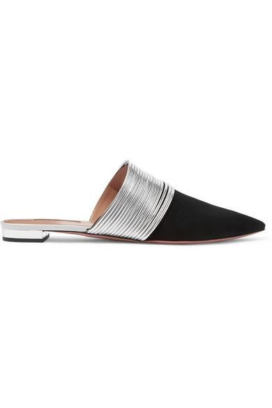 Rendez Vous Metallic Leather And Suede Slippers