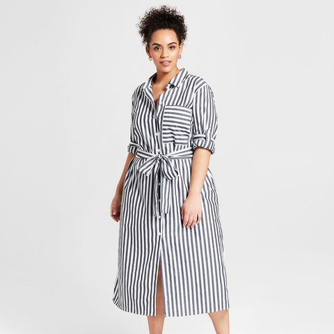 Striped Long Sleeve Midi Shirt Dress