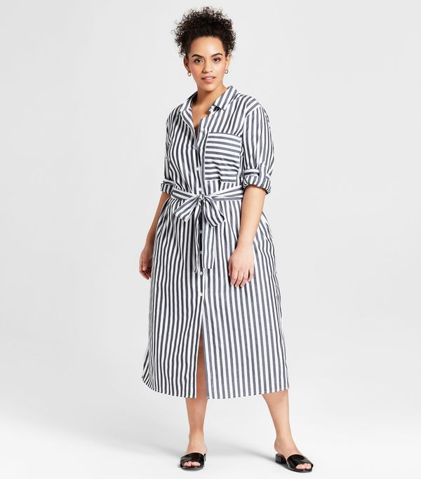 Plus Size Striped Long Sleeve Midi Shirt Dress