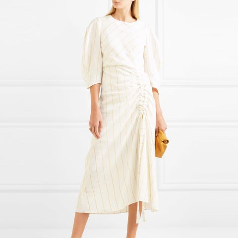 Ruched Striped Gauze Midi Dress