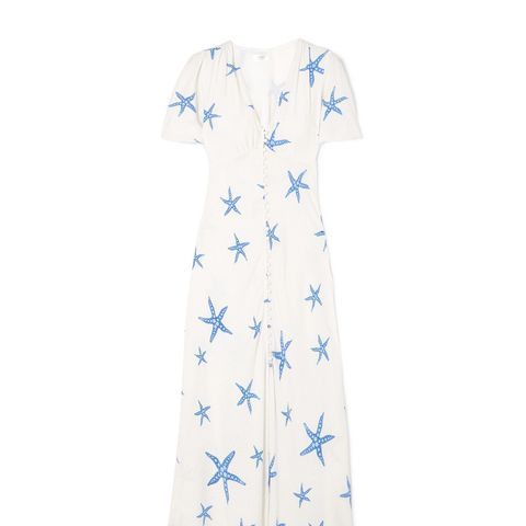 Jade Printed Chiffon Midi Dress