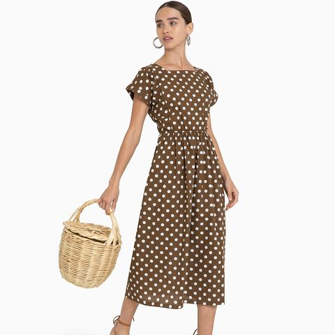 Brown Polka Dot Midi Dress