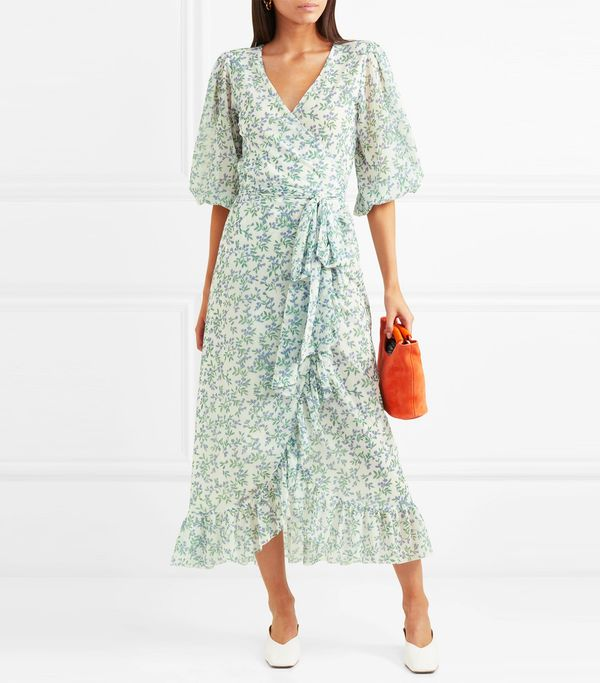 Tilden Floral-print Mesh Wrap Dress