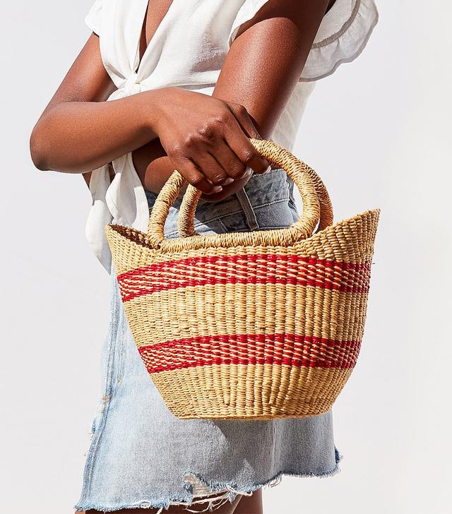 Urban Renewal Recycled Small Striped Straw Bag