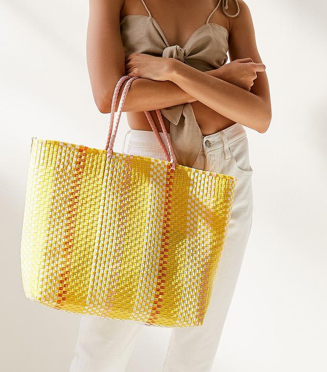 Sunny Stripe Woven Tote Bag