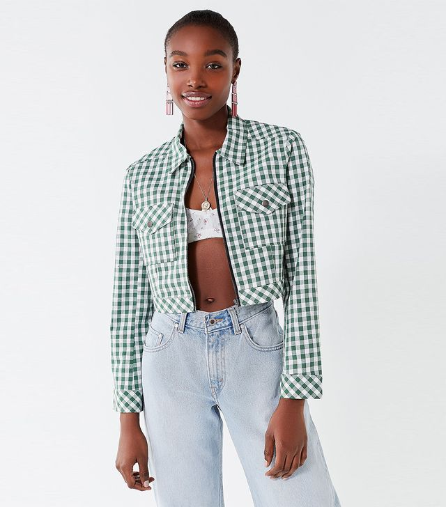 UO As If Cropped Gingham Jacket