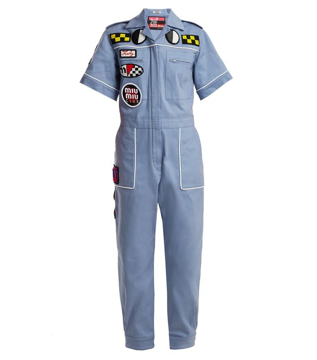 Badge-appliqué cotton-blend jumpsuit