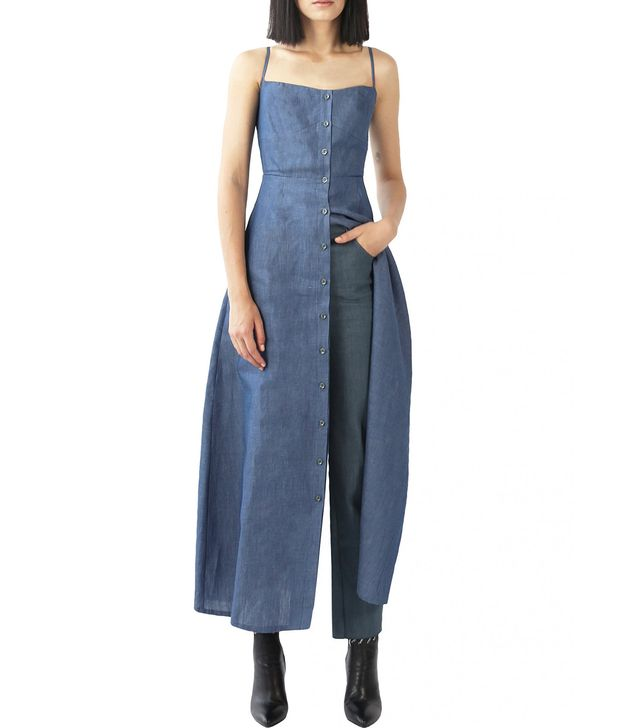 Exhibit Mid-wash Blue Denim Slip Dress