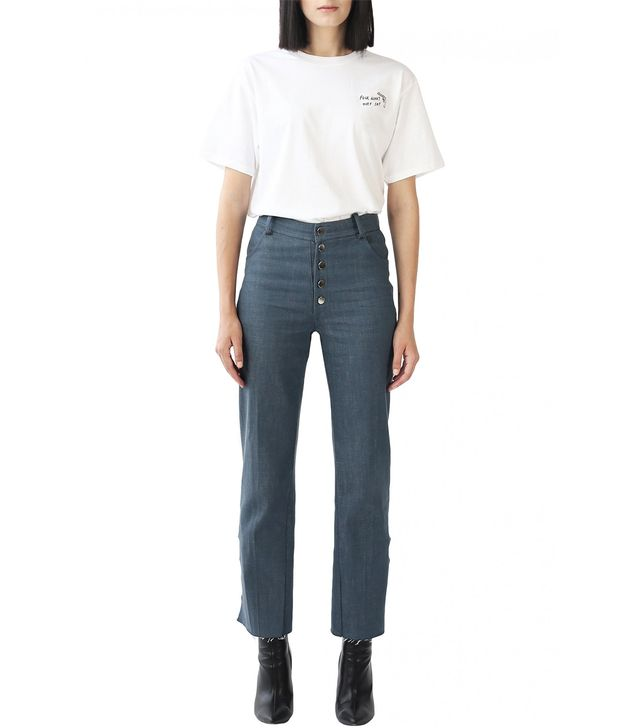 Exhibit Stone Blue High-rise Straight Leg Jeans