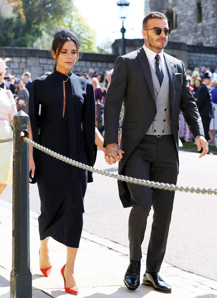 victoria beckham meghan harry royal wedding outfit: Navy shift dress