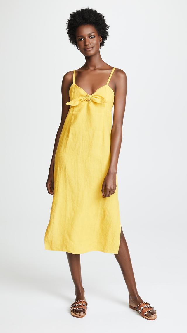 Linen Tie Front Midi Dress