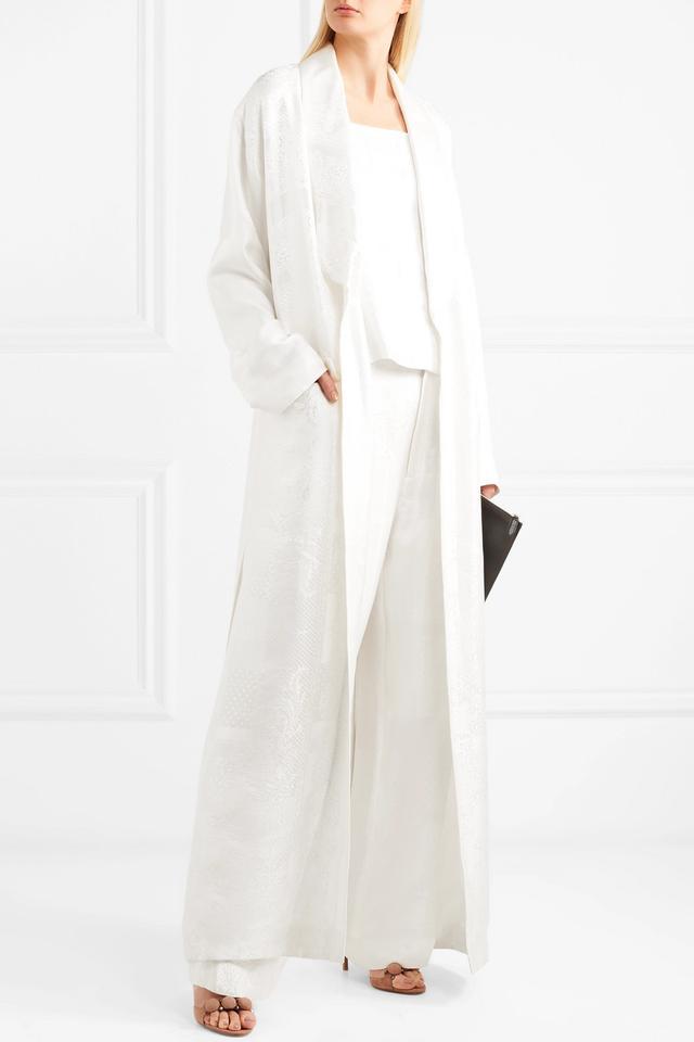 Belted Satin-jacquard Robe