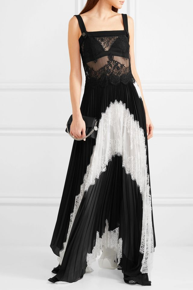 Lace And Pleated Silk-blend Georgette Gown
