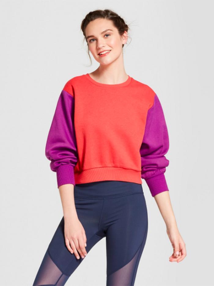 Color Block Fleece Cropped Sweatshirt by JoyLab